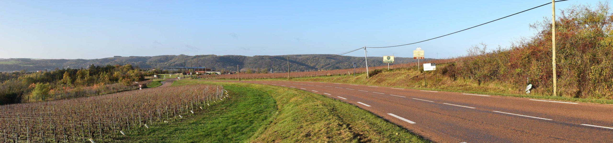 RD 944 à Epineuil (photomontage à 5,64 km de l'éolienne la plus proche)
